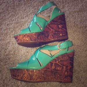 Turquoise Wedges with snakeskin wedge